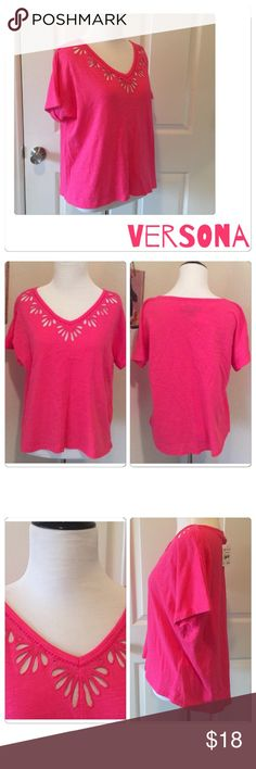 """🌷Versona Pink Punch Top NWT Super pretty short sleeve v-neck tee by Versona. Color is pink punch, mild high / low and sleeves are slightly cuffed. Gorgeous eyelet design with small beaded detail. Perfect for the everyday wear. Can be casual or even dressy. 100% cotton NWT 🌷Reasonable Offers Welcome -through """"Offer Button""""🌷(slight wrinkling from being smushed in closet) lol Versona Tops Tees - Short Sleeve"""