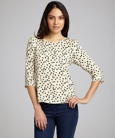 DV by Dolce Vita cream woven 'Sacha' polka dot tulip back top | BLUEFLY up to 70% off designer brands at bluefly.com