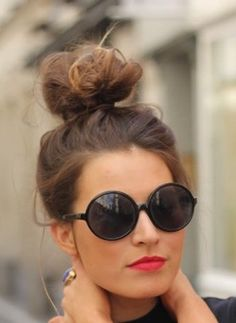 top knots and sock buns for every occasion - love her gorgeous bun and lipstick