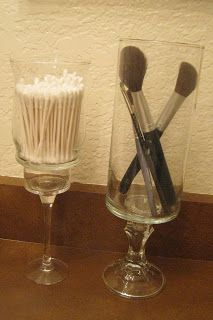 dollar store candel stick and glass, glues together....like this for things likfe q-tips and cotton balls