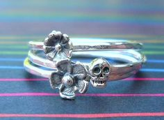 Sterling Silver Day of the Dead Skull and Flowers by SugarCity, $56.00