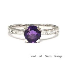 $259 Round Purple Amethyst Engagement Ring 14K White Gold,5mm,Vintage Style Solitaire
