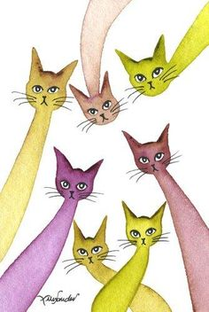 Whimsical Cats: Watercolour 'Wales Stray Cats' by Lori Alexander at #straycatart ♥