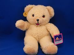 New product 'RUSS 1986 Large 3146 Snuggle Cream Woolly Bear' added to Dirty Butter Plush Animal Shoppe! - $16.00 - RUSS 1986 No 3146 Plush 15 inch Lever Brothers SNUGGLE Cream Woolly Teddy Bear Tan Velour Ears, Muzzle Open Mouth Pink T…