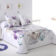 Colcha Bouti ADA de JVR. Colcha primaveral estampada con flores en tonos beige, malva y turquesa. #decoracion #textildehogar #bedroom