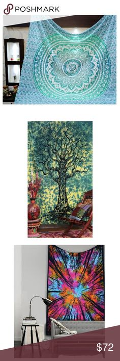 Bundle Blue, Green Tree, and Rainbow tree Tapestry Fabric: 100% Cotton Fabric, Screen Printed with Tye dye Design.. Twin size 54 x 84 inch Makes a great wall hanging, tablecloth, beach cover up, Dorm, couch cover or window curtain other Home Décor purposes Made in INDIA CARE: Dry Cleaning Or Cold Water Wash Other