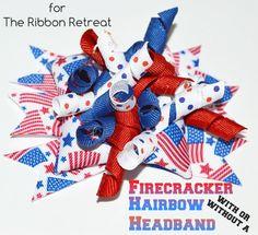 Firecracker Bow and Headband - The Ribbon Retreat Blog