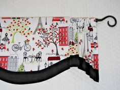 Eiffel Tower~GREEN~Red~BLACK BAND~Valance~Curtain~TOPPER~Valance~Unlined #Handmade #Novelty