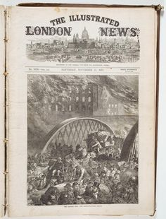 The Chicago Fire--The Randolph-Street Bridge; The Illustrated London News, October 11, 1871 (ichi-34682) | The Great Chicago Fire & The Web of Memory