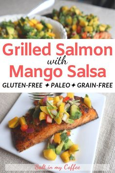 This flavor-packed grilled salmon with mango lime salsa is the kind of meal you remember for days. Decadent and slightly exotic its actually SO easy you can whip it up in no time! Fish Recipes, Lunch Recipes, Easy Dinner Recipes, Easy Meals, Xmas Recipes, Paleo Dinner, Grilling Recipes, Chicken Recipes, Easy Healthy Recipes