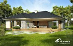 Nela IV - Dobre Domy Flak & Abramowicz Bungalow Haus Design, Modern Bungalow House, Bungalow House Plans, Dream House Plans, Small House Plans, House Design, One Story Homes, Spanish House, House Elevation