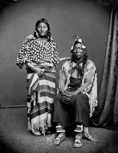 Apache 1905, native americans, husband and wife, indians, portrait, couple, posing, proud, wild, culture, vintage, photo b/w.