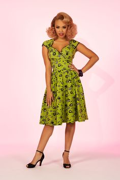 Pinup Couture Luscious Dress in Mr. Skulls Print | Retro Dress | Pinup Girl Clothing