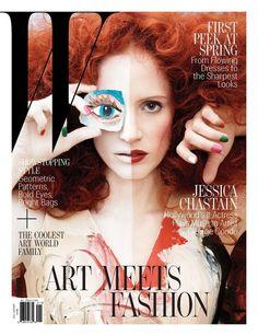 W Magazine January 2013 Jessica Chastain by George Condo.