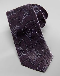 Abstract Paisley-Jacquard Tie, Dark Purple by Armani Collezioni at Neiman Marcus.