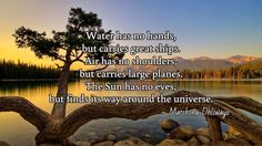 Water has no hands, but carries great ships. Air has no shoulders, but carries large planes. The Sun has no eyes, but finds its way around the universe. / ~ Matshona Dhliwayo