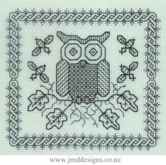 JMD Designs - JMD2002 Alby Owl - Blackwork Needlework, Quilting and Applique