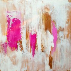 Abstract Painting Gold White and Pink by JenniferFlanniganart  24x24 inches