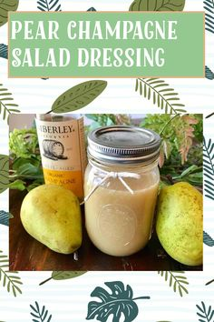 My Recipes, Gluten Free Recipes, Canned Pears, Champagne Vinegar, Pear Salad, Caramel Brownies, Food Storage Containers, Salad Dressing, Mason Jars