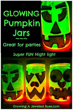 Glowing Pumpkin Jars- Super easy to make and so fun for kids!  Great for parties, as a night light,  or to illuminate the porch on Halloween night!
