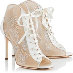 White Lace and Satin Ivory Peep Toe Booties FREYA 100 found on Polyvore featuring shoes, heels, white lace shoes, jimmy choo, ivory shoes, lacy shoes and peeptoe shoes