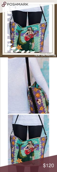 """Three Birds Nest Cross Body Bag Three Birds Nest - NWT - Beautiful canvas stenciled Southwestern cross body bag. Cotton Stencil Purse in a day of the dead design. So unique, not sold online - retail product Apx. 13"""" x 19"""", zippered closure. Three Bird Nest Bags Crossbody Bags"""