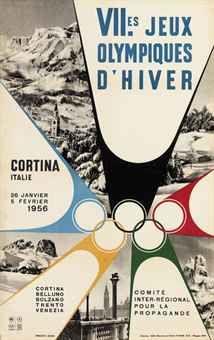 VII.ES JEUX OLYMPIQUES D'HIVER, CORTINA  c. 1955