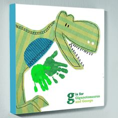 Personalised wall art canvas picture – dinosaur handprints