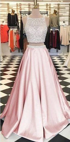 New Arrival Prom Dress,Sequin Two Pieces Beaded Satin Open Back Ball gowns Two Piece Prom Dresses P0806