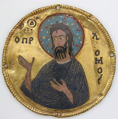 Medallion with Saint John the Baptist from an Icon Frame  Date:ca. 1100 Geography:Made in Constantinople Culture:Byzantine Medium:Gold, silver, and enamel worked in cloisonné Dimensions:Diam: 3 1/4 in. (8.3 cm) Mount: 20 1/2 x 15 x 7/8 in. (52.1 x 38.1 x 2.2 cm)