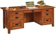Amish Franklin Mission Executive Desk Holmes Office Collection The attention to detail contributes to making the Amish Franklin Mission Executive Desk a true stand out in your home office. Amish Furniture, Custom Furniture, Furniture Making, Mission Style Furniture, Solid Wood Desk, Office Furniture Design, Office Essentials, Wooden Shelves, Wood Species