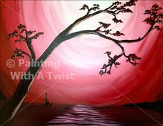 Plum Blossoms - Fayetteville Painting Class - Painting with a Twist - Painting with a Twist