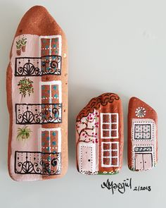 My little houses, rockart, acrilic painted, created by Aysegul, 2/2018