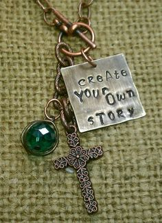 Hand stamped Jewelry Copper and Bronze - mixed metal jewelry