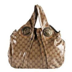 27b31f6cb7b Pre-Owned Gucci Crystal GG  Hysteria  Top Handle Tote Purse Tan