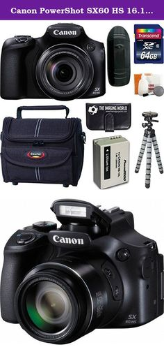Canon PowerShot SX60 HS 16.1 MP Wi-Fi 65x Optical Zoom Digital Camera + 64GB Card and Reader + Battery + Tripod + Bag + Digital Camera Accessories Kit. Featuring a far-reaching 65x optical zoom lens, equivalent to 21-1,365mm in the 35mm format, the PowerShot SX60 HS Digital Camera from Canon will provide users with a compact, yet extremely versatile unit for capturing highly detailed images. Additionally, this camera is capable of full HD 1080p video recording at 60 fps and has an…