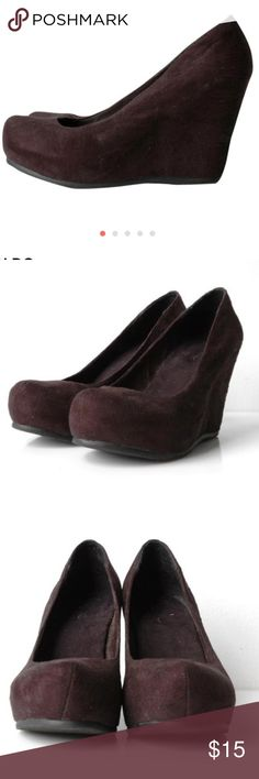 ALDO black suede wedge Label : aldo   Marked size : 39  Estimated size : 39  Color : black  Measurements : approx. 4 inches high  Condition: gently worn, no signs of wear   Description: suede wedges Aldo Shoes Wedges