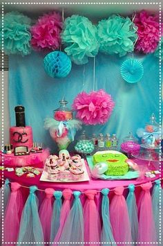Party spa themed birthday party spa birthday party dessert table see more p Birthday Party Desserts, Trolls Birthday Party, Troll Party, 13th Birthday Parties, 10th Birthday, Birthday Table, 12 Year Old Birthday Party Ideas, Spa Birthday Cake, Girl Birthday