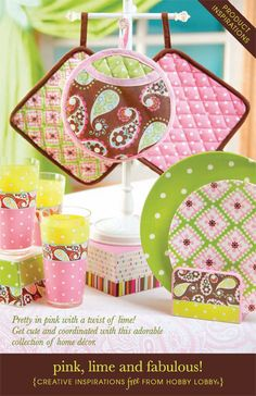Pretty in pink with a twist of lime! Get cute and coordinated with this adorable collection of home décor.