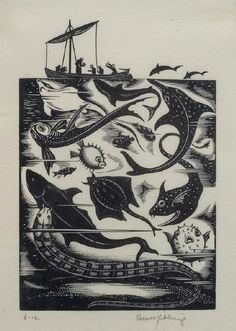 Robert Gibbings, St Brendan and the Sea Monsters, 1934 – Collection | Christchurch Art Gallery Te Puna O Waiwhetu