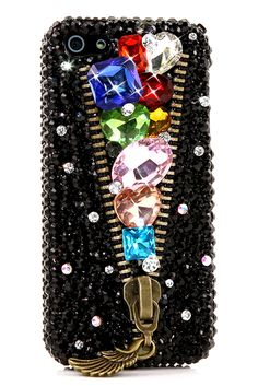 Rainbow Lux Zipper Design iPhone 5 5s 5c bling cases cool glitter luxury awesome crystals lifeproof fashion for girls teens
