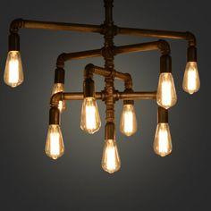 Lndustrial Vintage Retro Water Iron Pipe Pendant Lamp Chandelier light Bulb Bar Lighting With 9 Lights Pendant Chandelier, Ceiling Pendant, Chandelier Lighting, Industrial Style Lighting, Pipe Lighting, Industrial Pipe, Lighting Ideas, Kitchen Lighting Fixtures, Light Fixtures