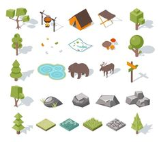 Isometric 3d camping elements by Microvector on Creative Market