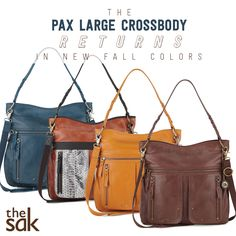 The Pax Large Crossbody returns featuring utilitarian styling with large front pockets and an adjustable canvas crossbody strap. Shop it in our NEW fall colors.