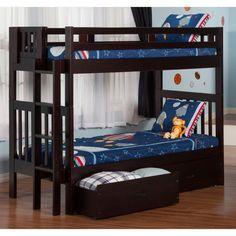 Atlantic Furniture Cascade Twin Over Twin Bunk Bed - Espresso - Bunk Beds & Loft Beds at Hayneedle