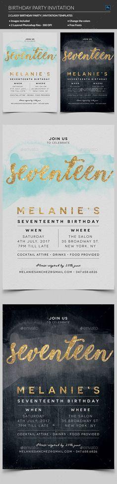 Elegant Birthday Invitation — Photoshop PSD #bash #poster