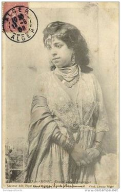 Algeria, Famous Moorish Mauresque Girl Aicha, Necklace Jewelry (1906) Stamp