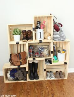 crate storage - super cute for a small entry way