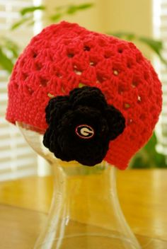 GEORGIA Bulldog Open crochet Hat Any size. $24.00, via Etsy.