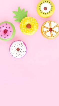 Summer Fruit Slice Donuts - All Of The Sweets - Tropical Bridal Showers, Summer Bridal Showers, Cute Donuts, Fruit Slice, Cute Desserts, Summer Fruit, Summer Fall, Fall Winter, Flamingo Party